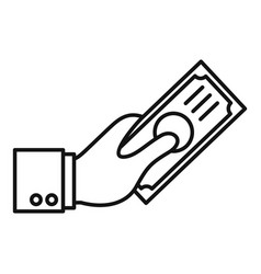 hand give money icon outline style vector image