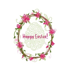 Happy Easter Floral frame for your design vector image