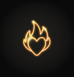 heart on fire glowing orange neon sign vector image