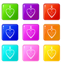 Heart shaped pendant icons 9 set vector