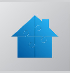 House puzzle four pieces jigsaw puzzle renting vector
