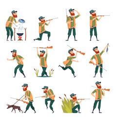 hunters sniper outdoor human with weapons duck vector image