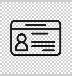 Id card icon in transparent style identity tag on vector