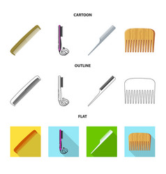 Isolated object of brush and hair sign collection vector