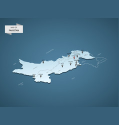 Isometric 3d pakistan map concept vector