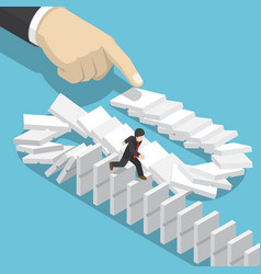 Isometric businessman running away on domino that vector