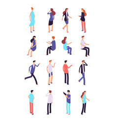 isometric people cartoon sitting and standing vector image