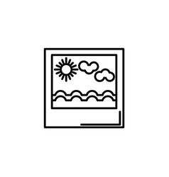 landscape picture summer icon line vector image