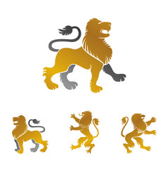 lion ancient emblems elements set heraldic design vector image