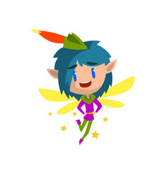 little winged elf boy with blue hair cute vector image