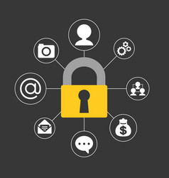 lock and icons about safe and security vector image