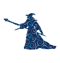 magician wizard character pattern silhouette vector image