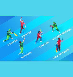 Man at cricket fielding or pitch positions name vector