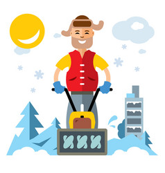 man with a snow blower flat style colorful vector image
