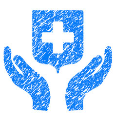 Medical shield care hands grunge icon vector