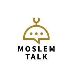 moslem talk chat bubble logo icon vector image