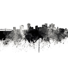 New Orleans skyline in black watercolor on white vector image