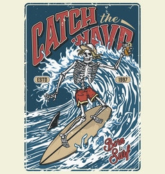 ocean surfing vintage colorful poster vector image