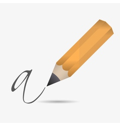 One big wooden pencil write letter eps10 vector