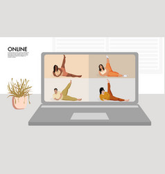 Overweight models making yoga curves online vector