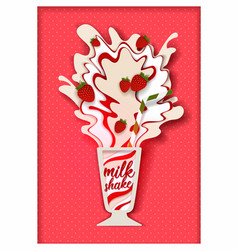 paper cut strawberry flavored milkshake vector image
