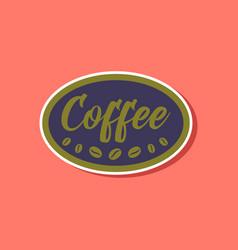 Paper sticker on stylish background coffee logo vector
