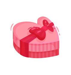 pink gift box in shape of heart with bow holiday vector image
