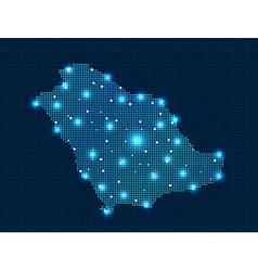 Pixel Saudi Arabia map with spot lights vector