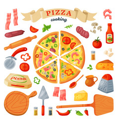 Pizza italian food with cheese and tomato vector