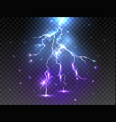realistic lightning on transparent background vector image