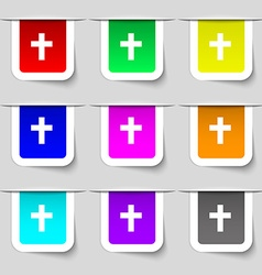 religious cross Christian icon sign Set of vector image