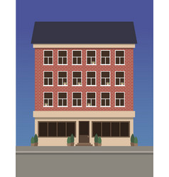 Residential multi-storey house made of red brick vector