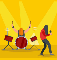 Rock band at concert icon flat style vector