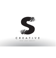 s brushed letter logo black brush letters design vector image