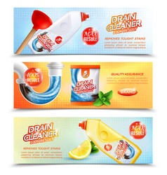 Sanitary cleaner horizontal banners vector