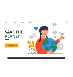 save planet abstract concept with young girl vector image