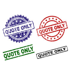 Scratched Textured Quote Only Stamp Seals Vector
