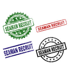 Scratched textured seaman recruit seal stamps vector
