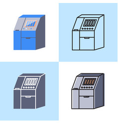 Sequenator machine icon set in flat and line style vector