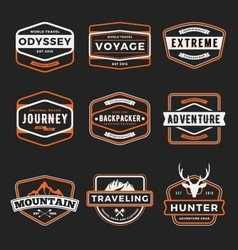 set badge logo outdoor adventure and traveling vector image