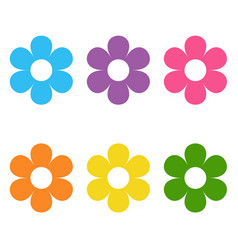 Set flat icon flower icons in silhouette vector