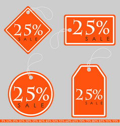 Set of bright orange-white sale banners with vector