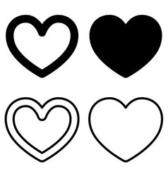 Set of graphic heart icons on white background vector