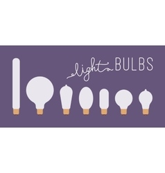Set of seven retro lit light bulbs against purple vector