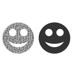 Smile collage of binary digits vector