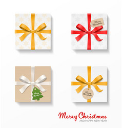 square gift box set gold red silver color bow vector image