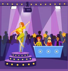 Talent show performance scene with cartoon vector