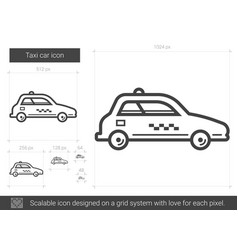 Taxi car line icon vector