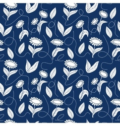 Traditional blue seamless sunflowers pattern vector image