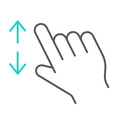 Two fingers zoom in thin line icon gesture and vector